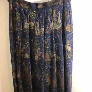 VTG Geiger Wool Tapestry A Line Midi Skirt Size 42